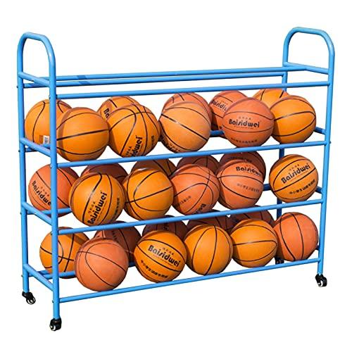 LXFA Estante de Pelota Estante de Almacenamiento de Baloncesto para Garaje, Carro Escolar para Pelotas Deportivas de Doble Ancho con Ruedas, Organizador de Equipos de Gimnasio para Niños Y Adultos