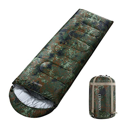ASHOMELI Camping Sleeping Bag - 4 Season Warm & Cool Weather - Summer, Spring, Fall, Winter, Lightweight, Waterproof for Adults & Kids - Camping Gear Equipment, Traveling, Indoors and Outdoors