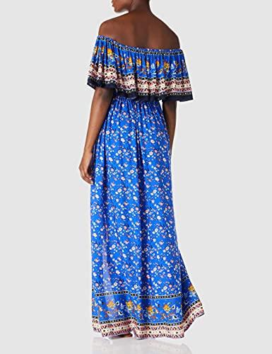 find. Marca Amazon Vestido Largo y Amplio de Verano para Mujer con Hombros Descubiertos, Escote elástico Palabra de Honor con Volante, Estampado Floral y Abertura Lateral, Azul