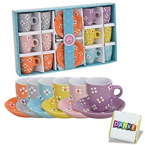 Geschirr Sets · Espresso Tassen Set · Kaffee Tassen Set · Schüsseln bunt · Obstschale Suppenschüssel Salatschale · Bunte Schalen · Keramik Schüssel Blumenmuster (12 Espresso Tassen Design 2)
