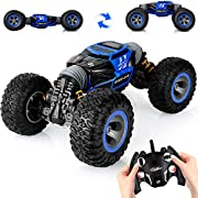 SteamPrime Remote Control Car,2.4 GHZ High Speed Stunt RC Racing Cars RC Rock Crawler w/ Rechargeable Batteries,Indoor Outdoor Motors Vehicles Buggy Hobby Car Toy Gifts for Kids Boys Girls Adult-Blue