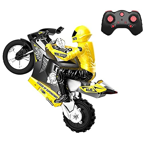 GRTVF 2.4Ghz Wireless Remote Control Motorcycle, Single-tire Standing Stunt RC Motorcycle, 360° Rotating Drift Stunt Motorcycle, Auto Balance Function, Detachable Doll, Shock Absorber System