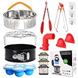 12 Piece Accessories Kit for Instant Pot 6/8 QT - Steamer Basket/Egg Rack/Egg Bites Mold/Springform Pan/Oven Mitts/ 3 Magnetic Cheat Sheet/Steam Diverter and More Pressure Cooker Accessories