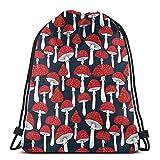 Lucky Home Mochila con cordón, mochila con bolsillos, setas rojas, unisex, ligera, para senderismo, almacenamiento