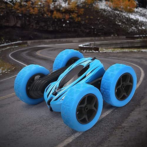 Por control remoto de coches de 2,4 GHz de doble cara Juguete vehículo de carreras de coches de carreras de coches giratoria que cae del vehículo del truco de RC con for niños ( Color : Azul )