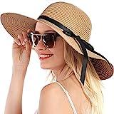 Womens Straw Hat Sun Hat for Women Beach Cap Summer Hats UV Protection UPF50+ (Bowknot&Khaki)