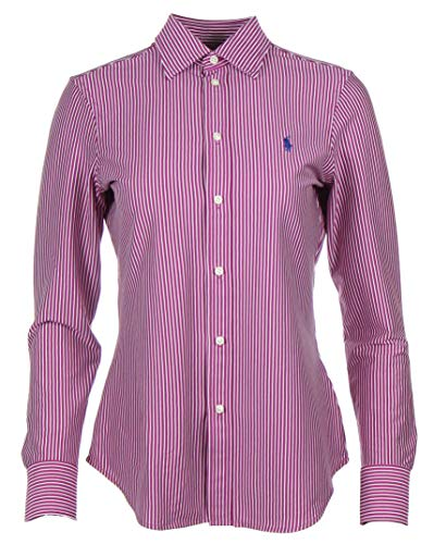 Ralph Lauren Knit Dress Shirt Bluse Hemd - Navy/Pink/Weiß (Dunkelpink, S)