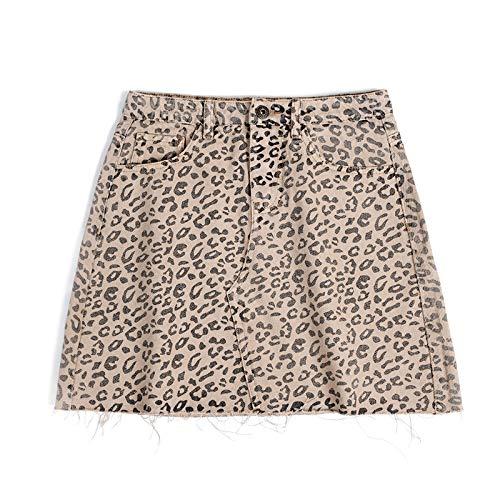 Jeans Pantalon Jeansrock Hohe Taille A-Linie Miniröcke Frauen Single Leopard Rock Style Jeans S PhotoColor