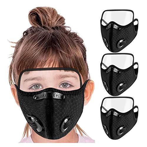 Morran Face mask filter anti damm mun och ansiktsmask säkerhetsmask munskydd med ventil filter för cykling motorcykel träning utomhusaktiviteter(Child,3PCS)