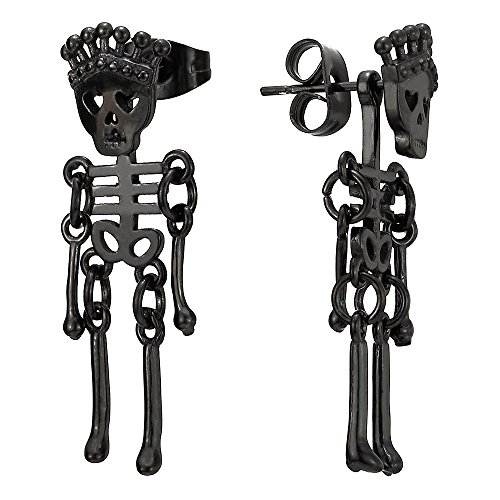Hombres Mujer Negro Corona Cráneo Esqueleto óseo Pendientes, Acero Inoxidable, 2 Piezas