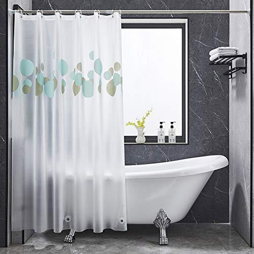 BONA FIERER Wasserdichter PEVA-Duschvorhang mit Haken, strapazierfähig, 3 Magnete, blau-graues Blasenmuster, kein Geruch für Duschkabine, Badewannen, 71 x 71,12 Haken.