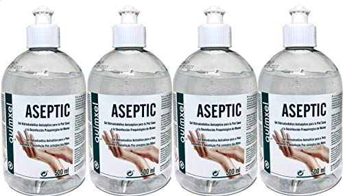 Gel desinfectante para Manos | Hidroalcohólico Antiséptico | Pack 4 x 500ml