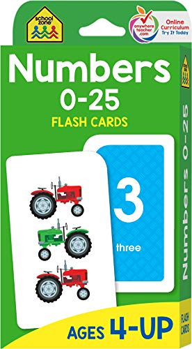 School Zone - Numbers 0-25 Flash Cards - Ages 4 to 6, Preschool, Kindergarten, Math, Addition, Subtr