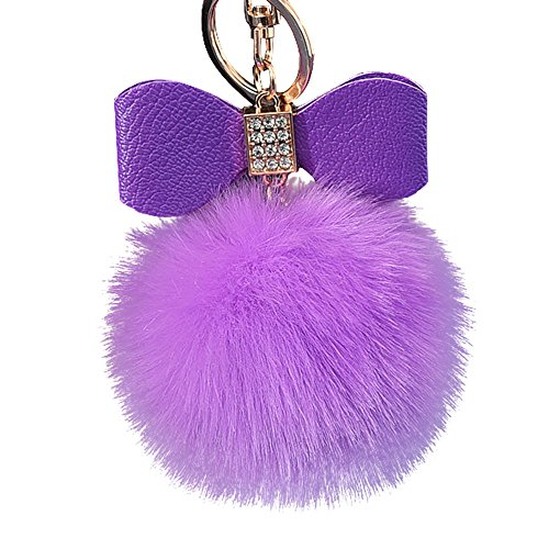 Mamum Diamond Rabbit Fur Ball Fox Bowknot ciondolo portachiavi da donna o ragazza portachiavi pompon portachiavi, Purple, 10cm/3.9'