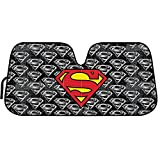 BDK Superman Logo DC Comics Official Licensed Front Windshield Sun Shade-Accordion Folding Auto Sunshade for Car Truck SUV-Blocks UV Rays Sun Visor Protector-Keep Your Vehicle Cool- 58 x 27 Inch