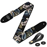 Guitar Strap with 2 Strap Locks & Strap Button, Dragon Guitar Strap Cool Designed Shoulder Strap with Suede Leather Ends for Bass, Acoustic & Electric Guitar (Black Gold Dragon)