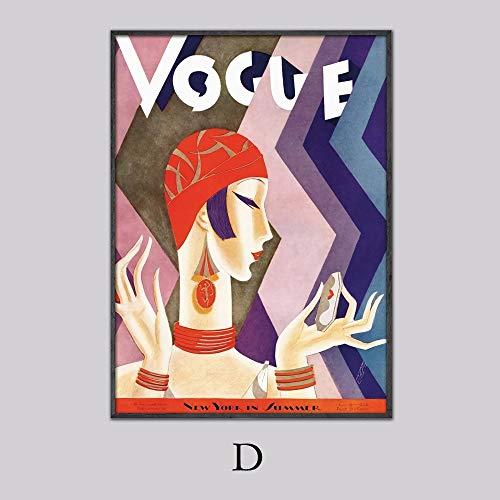 yiyiyaya Vintage Cuadros Vogue Figura Citas Carteles e Impresiones Lienzo Pared Pop Art Pintura en Blanco y Negro Imagen Decorativa nórdica 50x75cm
