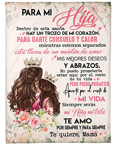 Personalized Blanket-Personalized para Mi Hija Te Quiere Mama| Fleece Sherpa Woven Blankets| Gifts for Daughter, Regalo para Hija-Absolutely