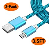 2pack 3.5ft Micro USB Cable Android Fast Charger Power Cord for Samsung S7/S6, Note 5/4, Galaxy J7 J3, Tablet Tab 3 4 S2 A 10.1 9.7 8.0 7.0 S 10.5 E 9.6 Pro Kids Lite Nook, Kindle Tablets Fire Hd Hdx