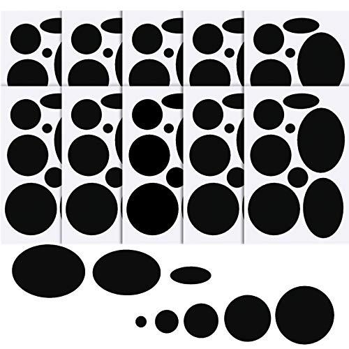 WILLBOND 80 Stück Daunenjacke Flicken Nylon Reparatur Band Selbstklebende Reparatur Flicken Schlafsack Flicken für Jacke Zelt Reparatur, 8 Größen in Runder und Ovaler Form (Schwarz)