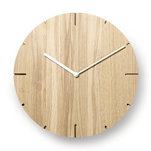 Natuhr Wanduhr Eiche unbehandelt Holz Solide Massivholz, geräuscharmes Junghans Uhrwerk, puristisch, modern, Made in Germany (Weiße Zeiger)