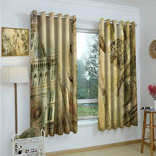 """Gardome Blackout Curtains Italy,Ancient Florence Art Collage Michelangelo David Renaissance,Pale Yellow Pale Orange Mint Green,Decorative Curtains for Living Room and Bedroom 42""""x72"""""""