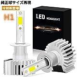 LEDヘッドライト H1 純正と同じサイズ 超大発光面COBチップ 12000LM 6000K 車検対応 12V専用 LEDフォグランプ 一体型 IP65防水 日本語説明書付き 無極性 一年保証 2個セット