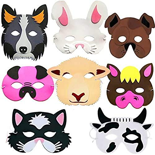 German Trendseller® - 8 x Mousse de Masques Les Animaux de Ferme en Mousse ┃ trié ┃ Enfants adorent ce Masques