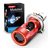 LED Motorcycle Headlights Camelight H4/HS1 Hi/Lo Red-ray Angel Eye DC 12V/24V Universal Replacement of H4 Halogen Lamp White 6000K (1PCS)