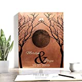 7 Year Anniversary Gift, Full Moon Wedding, Bare Trees, Faux Copper, Halloween Wedding, October Anniversary, Custom Art Print on Paper, Canvas or Metal #1307