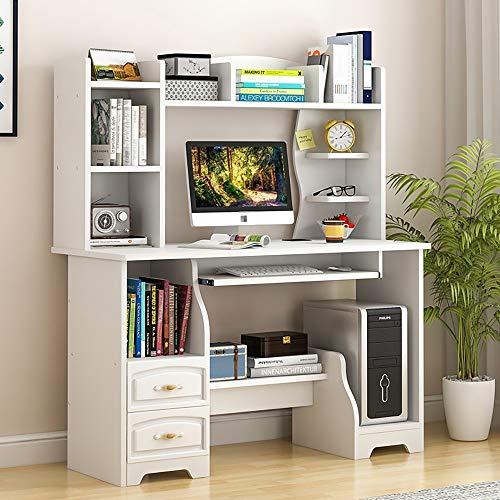 Yamyannie Computertisch Moderne Studie Tisch Schlafzimmer Arbeitstisch Mit Bücherregal for Home Office Schreibtische (Color : Beige, Size : 110x50x140cm)