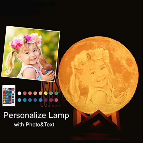 Lampara Luna Personalizada 3d con tu Foto y Texto Grabada, Lámpara Luna Impresión 3D Personalizado, Personalizable Lámpara luna Personalizada Románticos Regalos para Aniversario, 15 cm 16 Colores