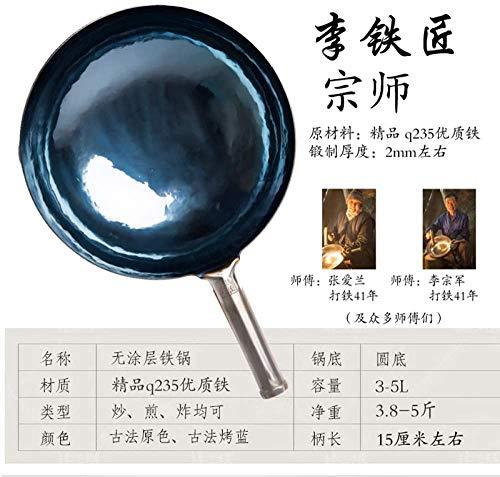 511mUoe8xcL. SL500  - Sooiy Authentischer Eisentopf Handmade Hot Forging Altmodische Hausmannskost Meister Woks Pans,36cm