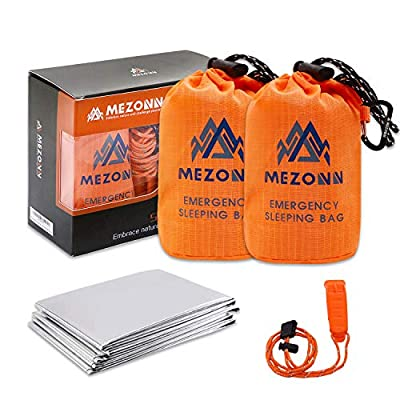 Mezonn Emergency Sleeping Bag Survival Bivy Sack Use as Emergency Blanket Lightweight Survival Gear for Outdoor Hiking Camping Keep Warm After Earthquakes, Hurricanes and Other disasters (Orange Set)