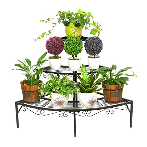 HZS De Style européen à Plusieurs étages en Fer forgé en Fer forgé Wall Ladder Flower Pots Balcon Fleur Vert Fleur étagère A Salon Balcon Flower étagère (Color : Black)