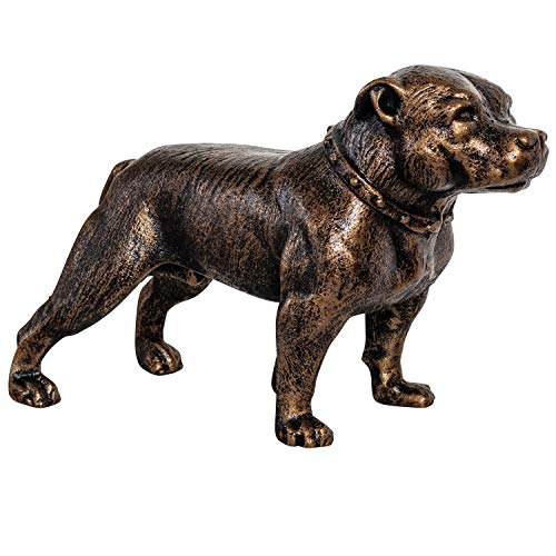 aubaho Eisenfigur Staffordshire Bullterrier Hund Figur Skulptur Eisen Antik-Stil 33cm