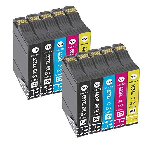 OGOUGUAN 603 XL Cartuchos de Tinta para 603XL Compatible con Expression Home XP-2100 XP-2105 XP-3100 XP-3105 XP-4100 XP-4105 Workforce WF-2810DWF WF-2830DWF WF-2835DWF WF-2850DWF(10 Paquete)
