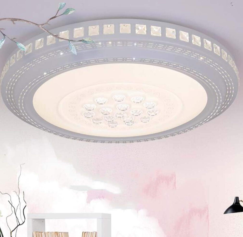 Leader Led Deckenleuchte, rechteckige Kristall Deckenleuchte, Moderne Schlafzimmer Wohnzimmer Kronleuchter, dreifarbige Verdunkelung, 48-220W,circleB60cm