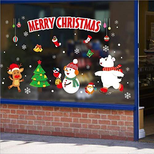 Frohe Weihnachten Wandaufkleber Weihnachtsmann Festliche Fensteraufkleber Weihnachtsbaum Schneemann Bier Hirsch Urlaub Wandaufkleber Xh6251_2pcs