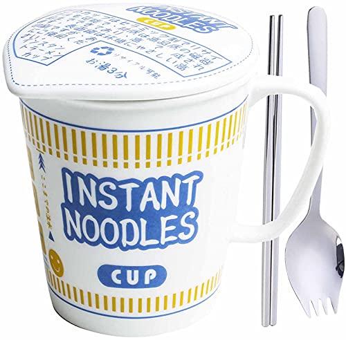 UIGJIOG Japanischer Keramikbecher und Schüssel Instant Cup Noodle Tasse Große Kapazität Nudeln Mikrowelle Suppenschalen mit Griffen für Ramen, Nudeln Suppe,Blau,600ml