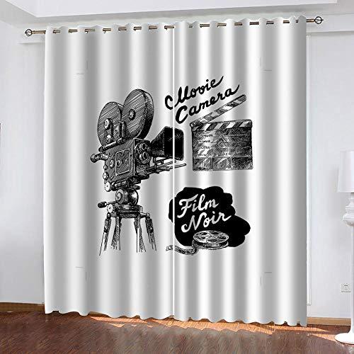 LOVEXOO Cortinas Termicas Aislantes Blanco Roto y proyector Cortinas Opacas Dormitorio para Ventanas Habitacion Moderna con Trabillas 2 Paneles 140x175cm(An x Al)