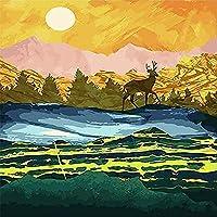 DMFNGJSD 数字油絵 フレーム付き、数字キット塗り絵 手塗り DIY絵-抽象的な風景 40X50cm