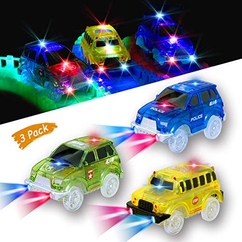 PROACC 2 Pezzi Dinosauro Pista Macchinine Elettriche Auto Veicoli per Magic Tracks Auto Dinosauro Giocattolo per Bambini Bagliore nel Buio Traccia per Ragazzo Ragazza Army Green