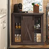 SHA CERLIN Farmhouse Accent Wood Storage Cabinet with Sliding Barn Door for Living Room, Rustic BuffetCabinet withAdjustable Shelves,32 InchCoffee Cart, Dark Wood