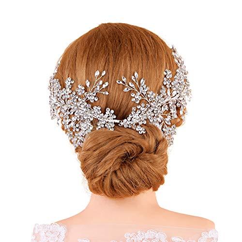 TOPQUEEN Haarschmuck für braut hochzeit haarschmuck hochzeit Silber Strass Braut Haarkamm Hochzeit Haarschmuck Tiara Diadem, Schmetterlinge(Packung mit 2 Stück)