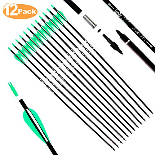KESHES Archery Carbon Hunting Arrows for Compound & Recurve Bows - 30 inch Youth...