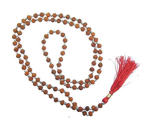 Myhealingworld Natural Shiva Rudraksha Beads Mala. 18 inch Hand Knotted Rudraksha Neckpiece with Small Metal Beads. Yoga Meditation Mala Necklace.