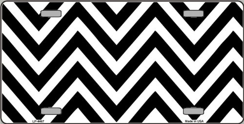 Black | White Large Chevron Print Blank Vanity Metal Novelty License Plate Tag Sign Blanks