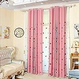 Lactraum - Cortina para habitación infantil con ojales, diseño de corazón, color rosa, Opaca con cinta fruncidora., 145 x 245 cm(B x H)