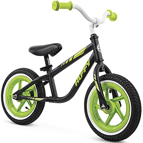 Huffy 12-inch Lil Cruzer Balance Bike for Kids w/ Wide Tires & Quick Release Seatpost, For Ages 3 & Up, Black and Neon Green